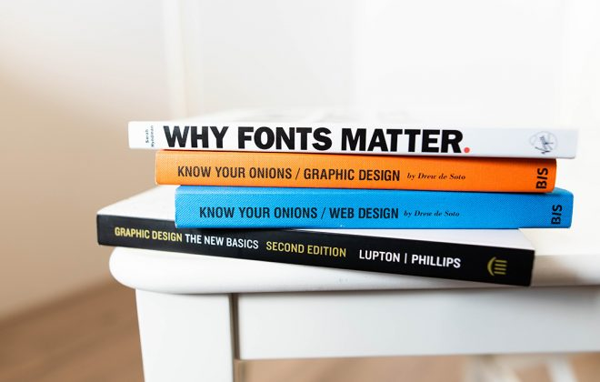Stellen Design Graphic Design firm shares a stack of design books