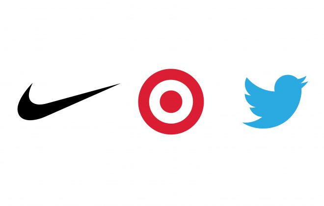Nike Target and Twitter Logos Being Used to show scale on Logo Designs that Scale an article by Stellen Design branding agency in Los Angeles CA