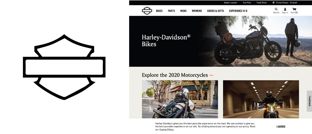 Harley Davidson Logo Being Used to show scale on Logo Designs that Scale an article by Stellen Design branding agency in Los Angeles CA