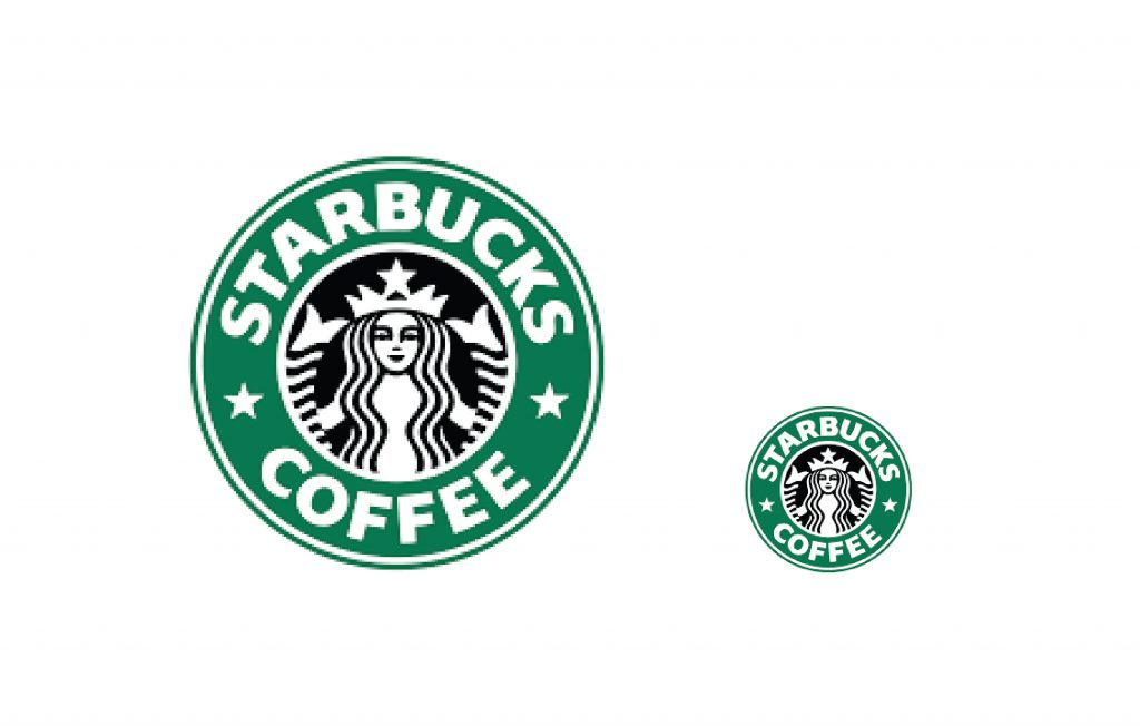 Starbucks Logo Being Used to show scale on Logo Designs that Scale an article by Stellen Design branding agency in Los Angeles CA