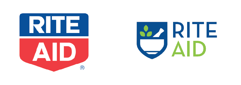 Rite Aid Old Vs New Logo as a comparison of Visibility on Logo Design in an article by Stellen Design Branding Agency in Los Angels