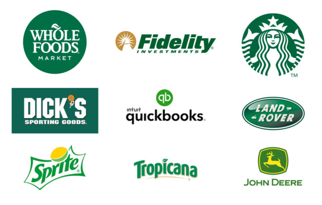 Green as a brand color on Collection of green logos showing Starbucks and Whole Foods by Stellen Design Branding Agency in Los Angeles CA