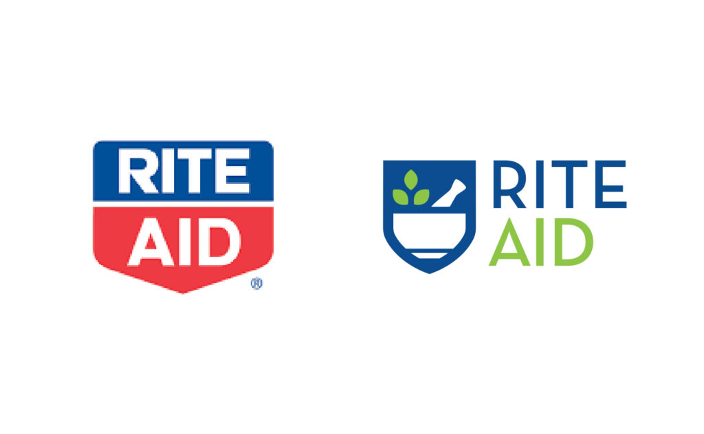 Rite Aid logo showing the old red logo vs the blue and green new logo by Stellen Design Branding Agency in Los Angeles CA