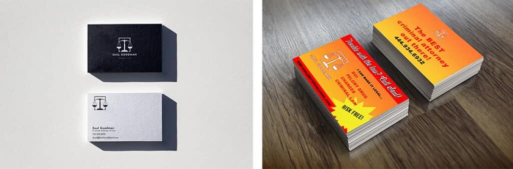 Attorney Business Cards Example of Bad vs Good Branding on Stellen Design Branding Design Agency Blog